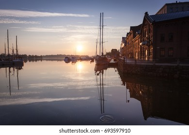 Early morning in Helsinki, Finland, ships and boats, embankment