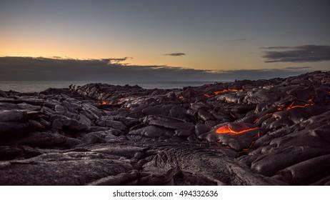Early morning hike through the active lava field near Kalapana, Hawaii.