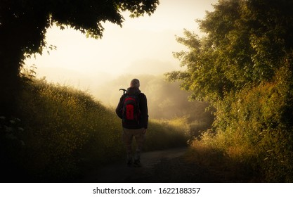 An early morning hiker with a backpack near Newquay in Cornwall. It is very foggy on the trail at the edge of the forest. The sun has risen and shines as backlight.