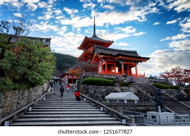 Early morning at the Kiyomizu-dera temple in the Gion district of Kyoto, Japan