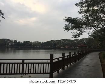 Early morning lakeside walk