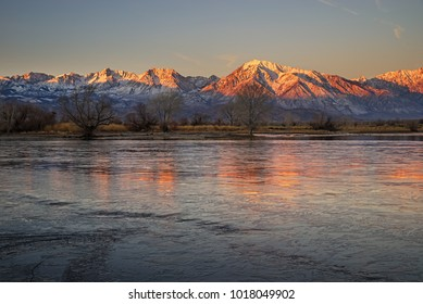 early morning landscape near Bishop California in the Owens Valley looking at the Sierra Nevada Mountains