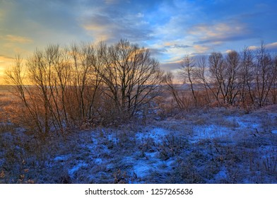 early morning landscape over winter meadow in steppe