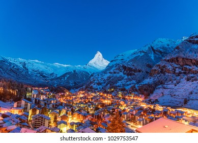 Early Morning landscape View on Zermatt city village  Valley and Matterhorn Peak in the Morning, Switzerland