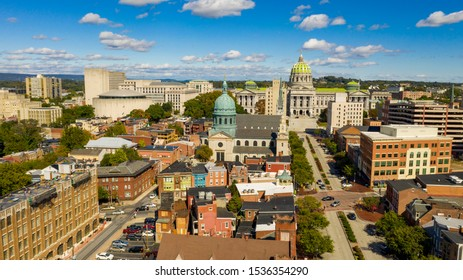 Early Morning light hits the buildings and downtown city center area in Pennsylvania state capital at Harrisburg