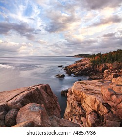 Early Morning Light Warms The Rugged Acadia Seacoast, Acadia National Park, Maine, USA