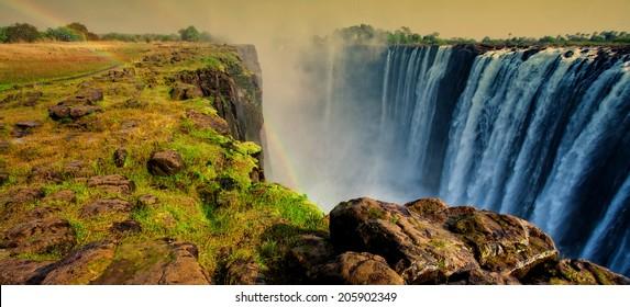 Early morning lights at the Victoria Falls at the border of Zimbabwe and Zambia