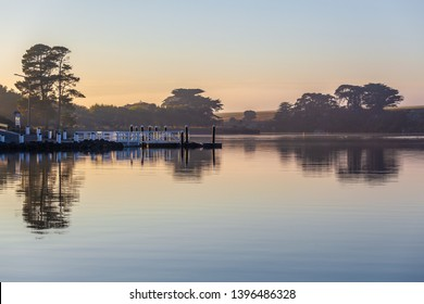 Early morning mist over Hopkins River pier in Victoria, Australia