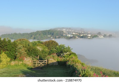 Early morning mist over Salcombe, photographed from East Portlemouth on the South Devon Coast,England,UK