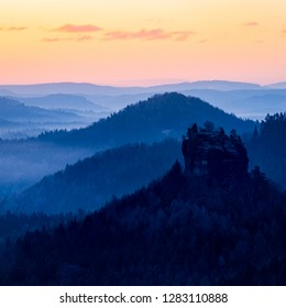 Early morning in the national park Saxon Switzerland, Germany, Europe