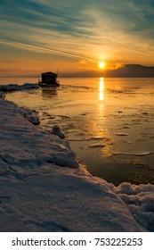 Early morning on the bank of the Volga River, Samara, Russia