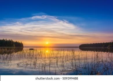 Early morning on Kingsmere Lake in Prince Albert National Park, Saskatchewan, Canada.