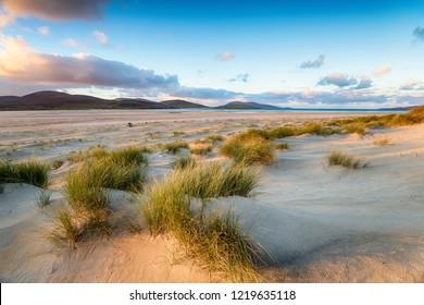 Early morning on Luskentyre beach on the Isle of Harris in Scotland