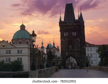Early morning on medieval Charles Bridge  on Vltava River in  Prague, Czech Republic