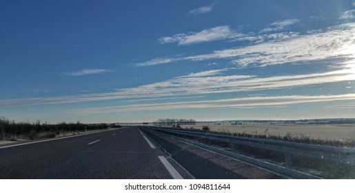 Early morning on the road - blue skies in front of me