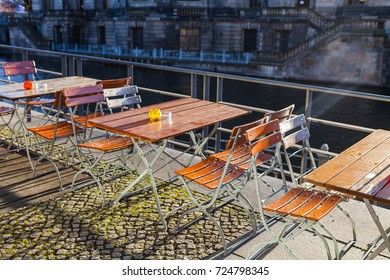 Early morning outdoor cafe on the streets of Berlin is waiting for people