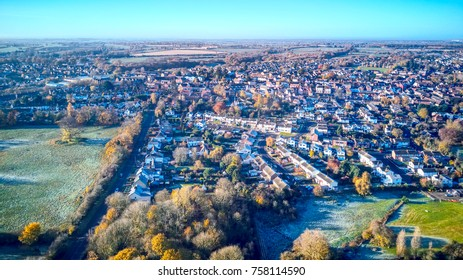 Early morning panoramic of Essex village of Dunmow in Autumn