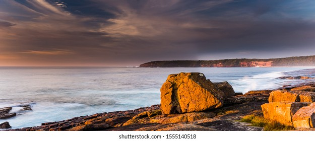 Early Morning Panoramic Seascape from Short Point at Merimbula on the South Coast of NSW, Australia.