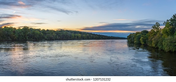 An early morning panoramic view of the Delaware River near Washington Crossing in Bucks County Pennsylvania.