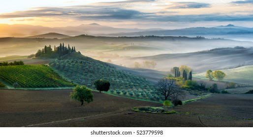 Early morning in San Quirico d'Orcia, Tuscany