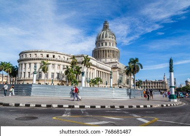 An early morning shot of the Capitol Building in the Cuban capital city of Havana.
