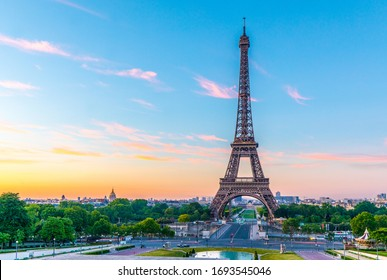 Early morning shot of the Eiffel Tower at sunrise on the River Seine in Paris, France