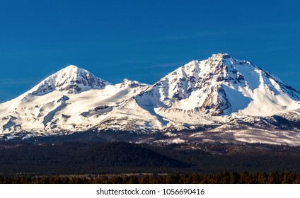 Early morning shot of the North and Middle Sister mountains in central Oregon near Bend.