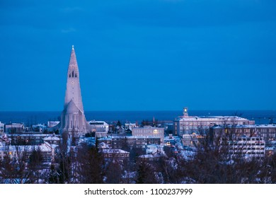 Early morning shot of Reykjavik downtown with lutheran church Hallgrimskirkja. Capital city of Iceland Reykjavik in winter.