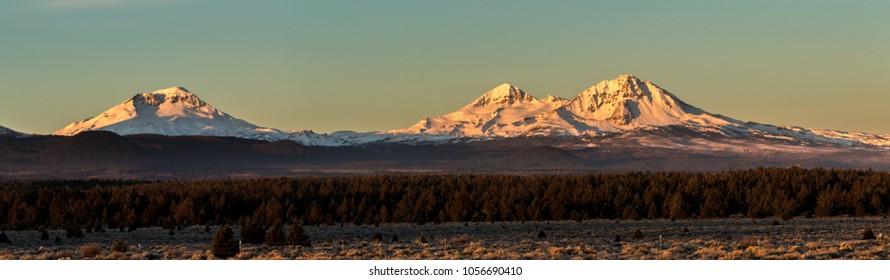 Early morning shot of the three Sisters mountains in central Oregon near Bend.