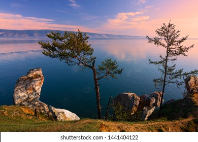 Early morning at the Small Sea Strait of Lake Baikal