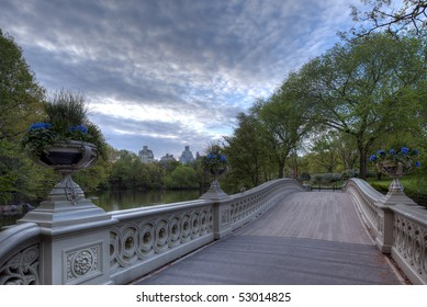 Early morning in spring in Central Park at the Bow bridge