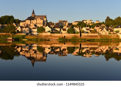Early morning summer view of the village Candes-St-Martin in the Loire Valley in France.