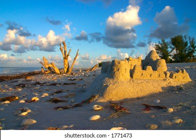 The early morning sun greets a leftover sandcastle