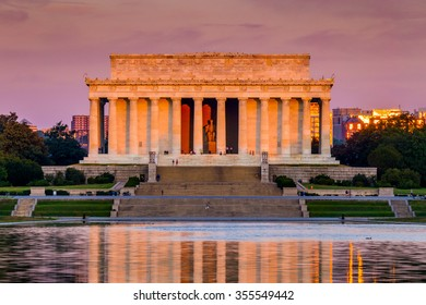 Early morning sun lighting up the Lincoln Memorial.