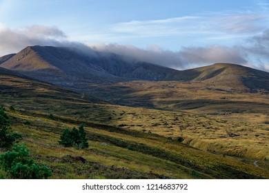Early Morning Sun on Coire an Lochain and Cairn Lochan (1215M) Fiacaill Coire an t-Sneachda (left ridge) and Miadan Creag an Leth-choin (right ridge), Cairngorm Mountains, Scotland