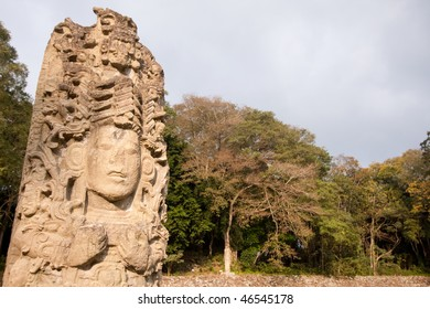 Early morning sunlight on Stela A at the ancient Mayan city of Copan. Honduras, Central America.