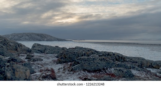 Early morning sunrise along the Apex Trail in Iqaluit Nunavut, Canada