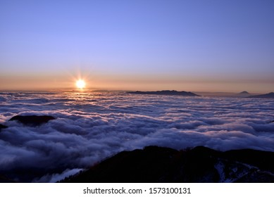 early morning sunrise and mt. Fuji over the sea of clouds, Nagano, mt.Tsubakurodake, Japan
