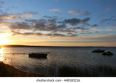 early morning and sunrise on the lake Naroch in Belarus