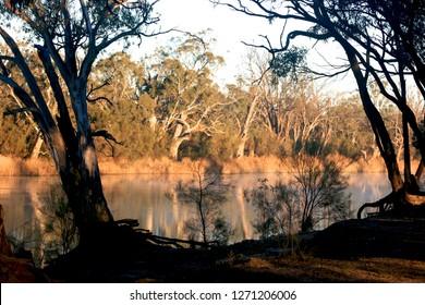Early morning sunrise on the Murrumbidgee River near Wagga Wagga, NSW, Australia.