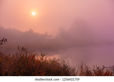 Early morning, sunrise over lake. Rural landscape.
