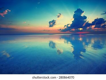 Early morning, sunrise over sea