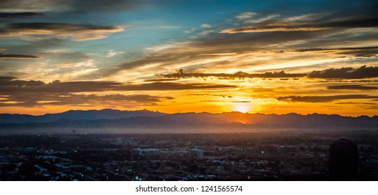 Early morning sunrise over valley of fire and las vegas