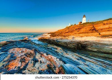Early morning sunrise at the Pemaquid Point Lighthouse in Maine, USA.