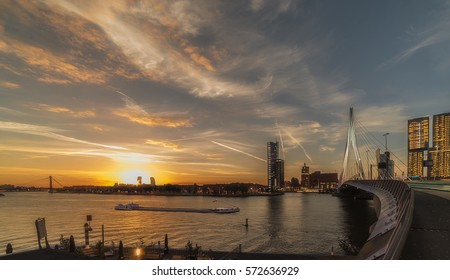 Early morning sunrise in Rotterdam, the Netherlands