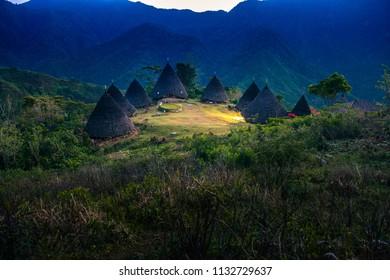 Early Morning Sunrise at Wae Rebo Village Flores Indonesia
