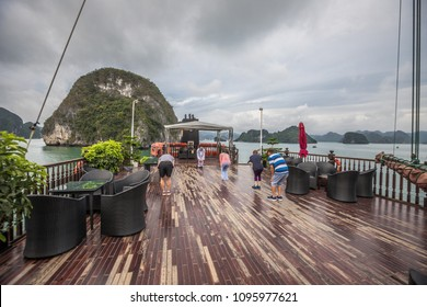 Early morning Tai Chi in Halong Bay boat cruise