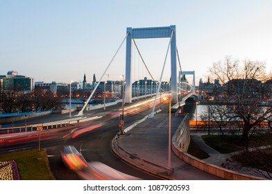 Early morning traffic on Elisabeth Bridge in Budapest. Shot with slow shutter speed