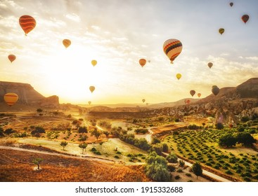 Early morning in the valley with rocks and balloons in the sky at dawn. Cappadocia. Turkey.Selective focus on balloons in the sky.