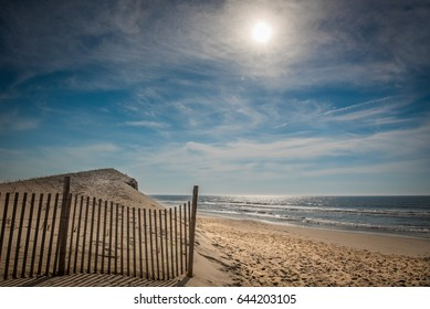 An early morning view of the beach and Atlantic Ocean along Long Beach Island, New Jersey